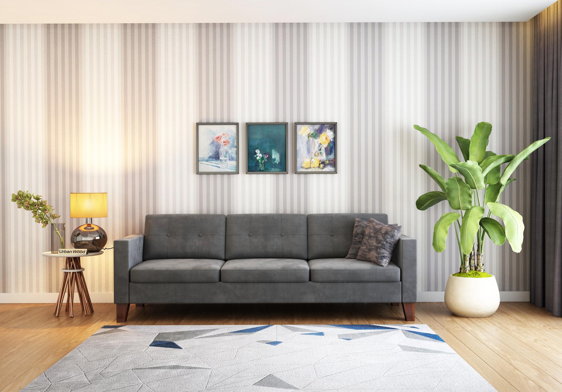 Shack 3 Seater Sofa  <small>( Velvet, Stone Grey )</small>