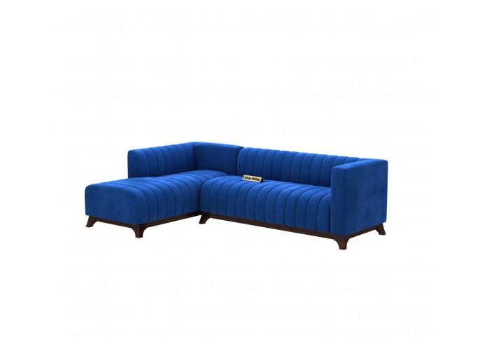 Barth L-Shaped Left Aligned Sofa ( Velvet, Sapphire blue )