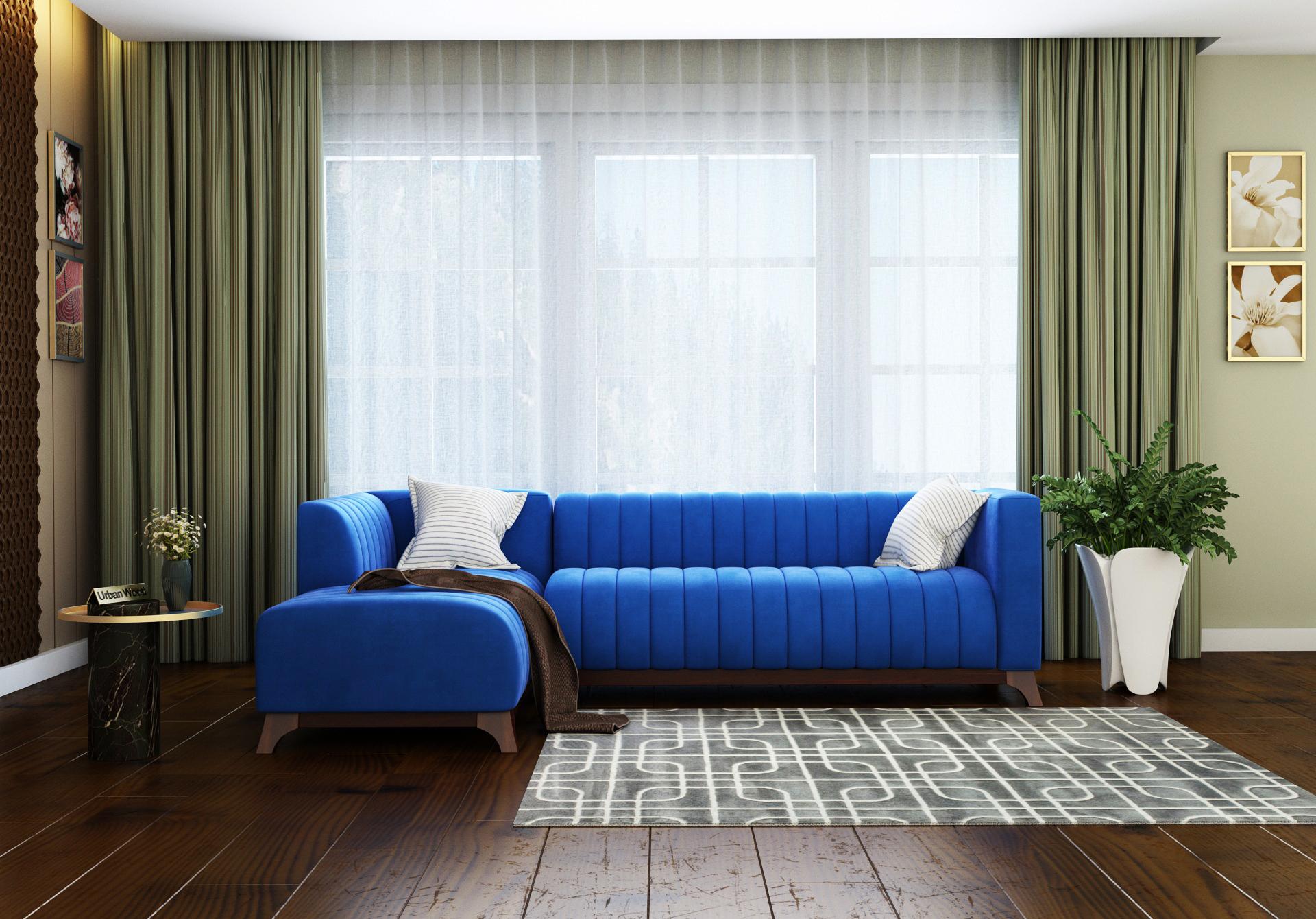 Barth L-Shaped Left Aligned Sofa <small>( Velvet, Sapphire blue )</small>