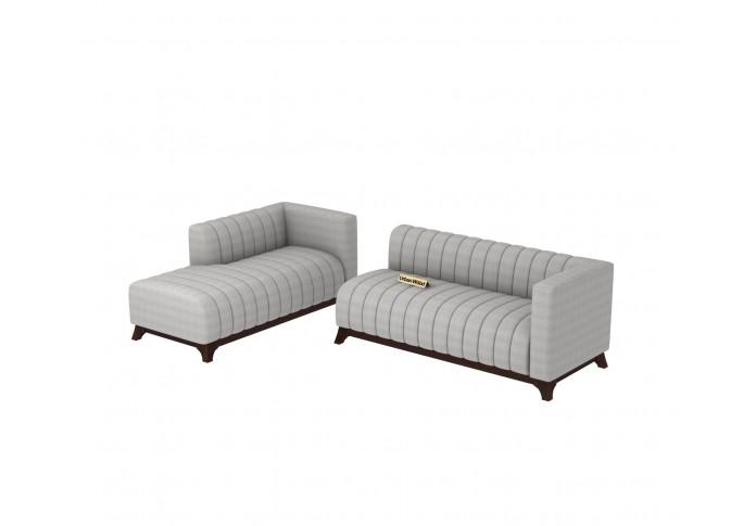 Barth L-Shaped Left Aligned Sofa <small>( Cotton, Steel grey )</small>