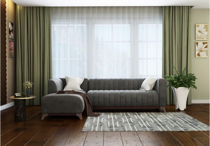 Barth L-Shaped Left Aligned Sofa <small>( Velvet, Stone grey )</small>