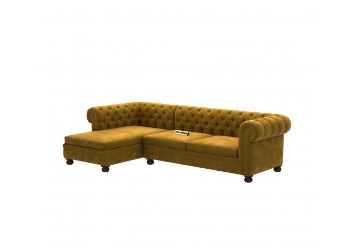 Beck L-Shaped Left Aligned Sofa ( Velvet, Amber gold )