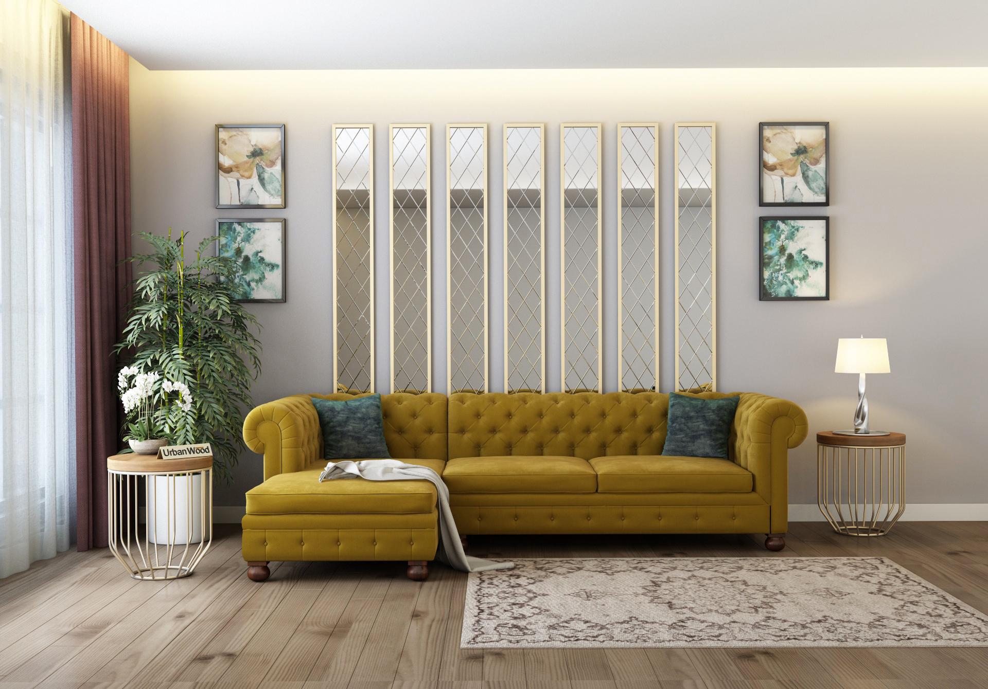 Beck L-Shaped Left Aligned Sofa <small>( Velvet, Amber gold )</small>