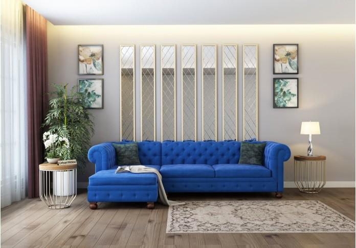 Beck L-Shaped Left Aligned Sofa <small>( Velvet, Sapphire blue  )</small>