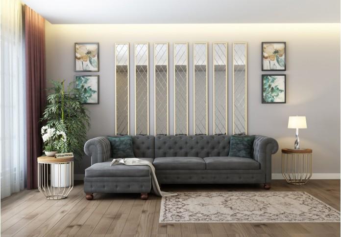 Beck L-Shaped Left Aligned Sofa ( Velvet, Stone grey  )