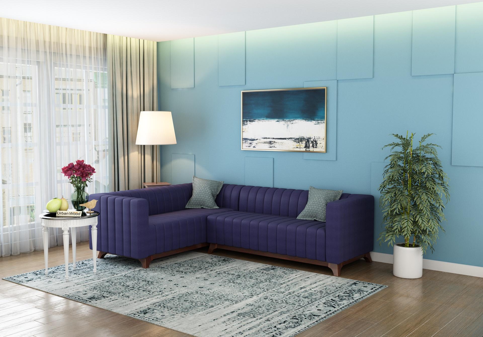 Jackson L-Shaped Left Aligned Sofa <small>( Cotton, Navy blue )</small>