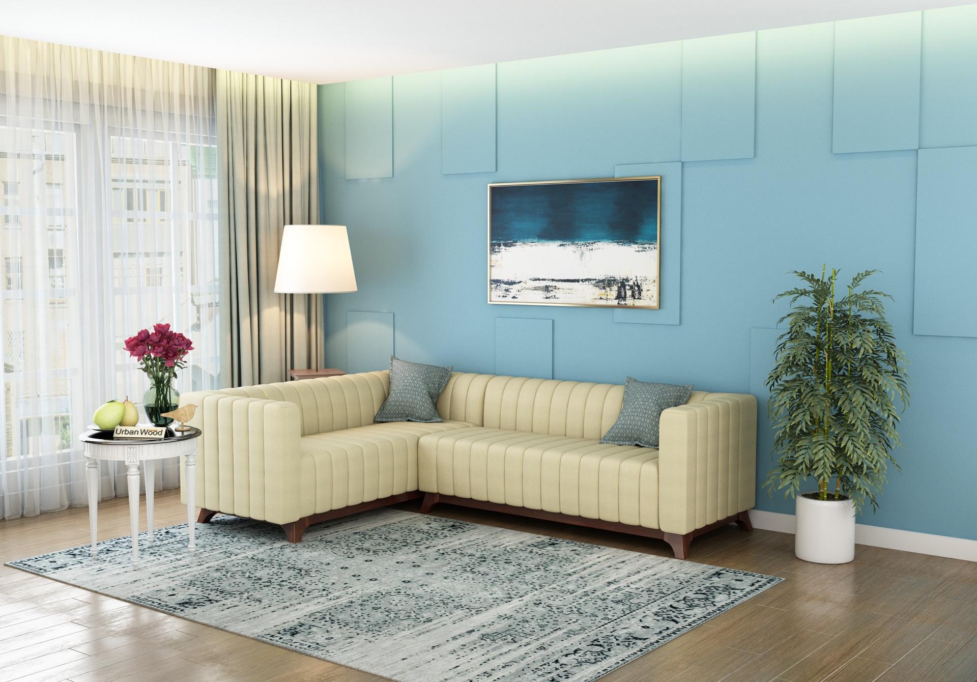 Jackson L-Shaped Left Aligned Sofa <small>( Cotton, Sepia Cream )</small>