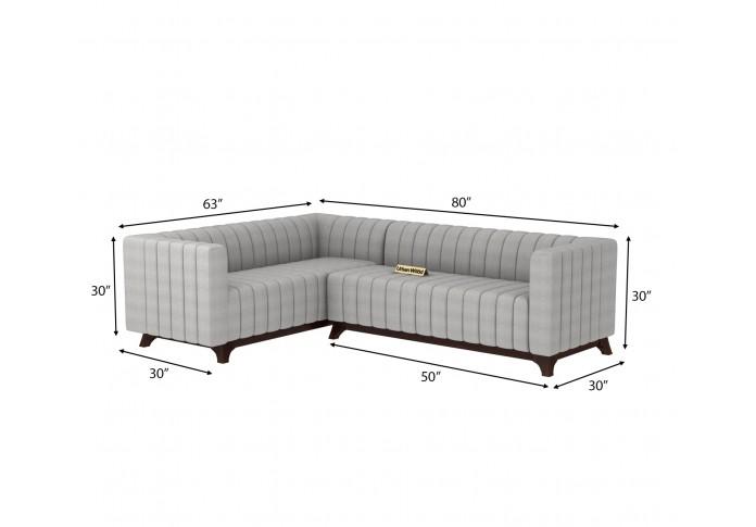 Jackson L-Shaped Left Aligned Sofa <small>( Cotton, Steel Grey )</small>