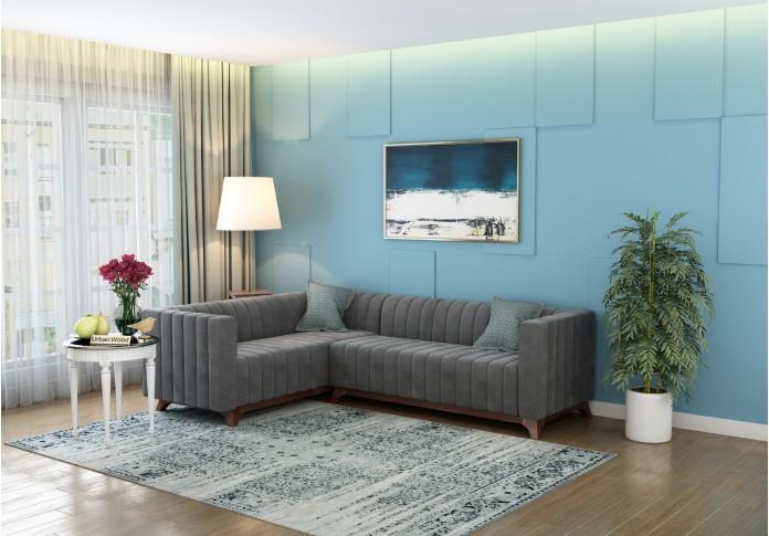 Jackson L-Shaped Left Aligned Sofa <small>( Velvet, Stone Grey )</small>