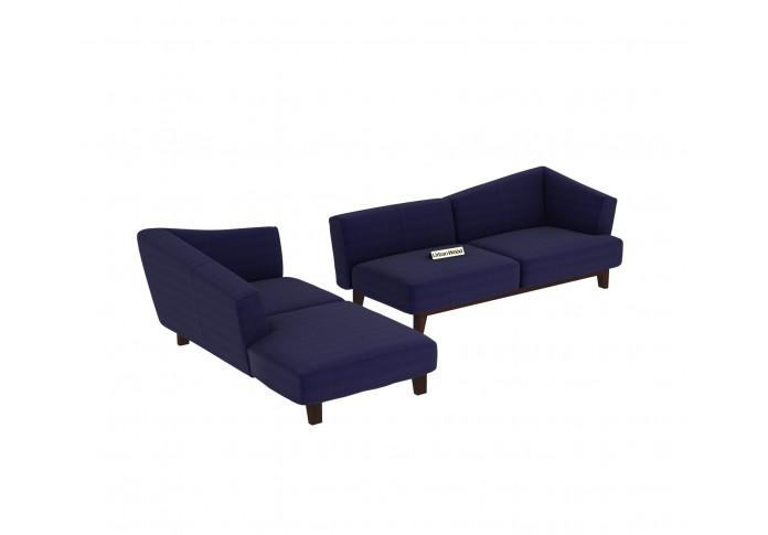 Keller L-Shaped Left Aligned Sofa <small>( Cotton, Navy blue )</small>