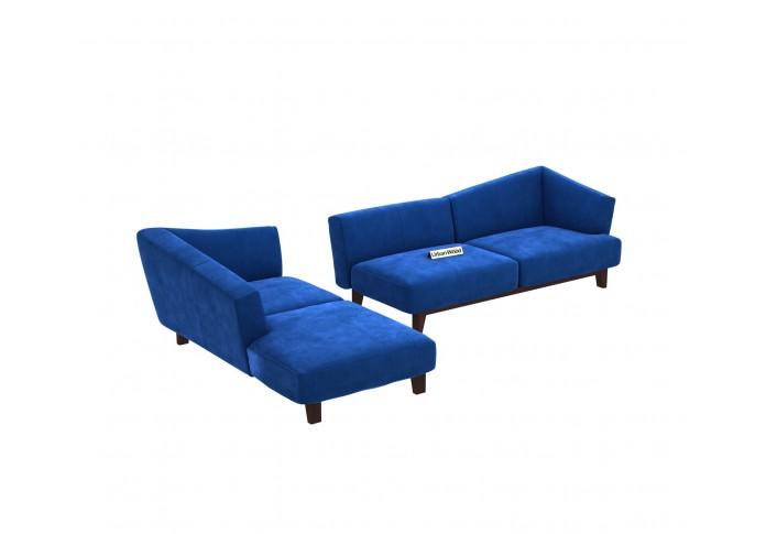 Keller L-Shaped Left Aligned Sofa ( Velvet, Sapphire blue )