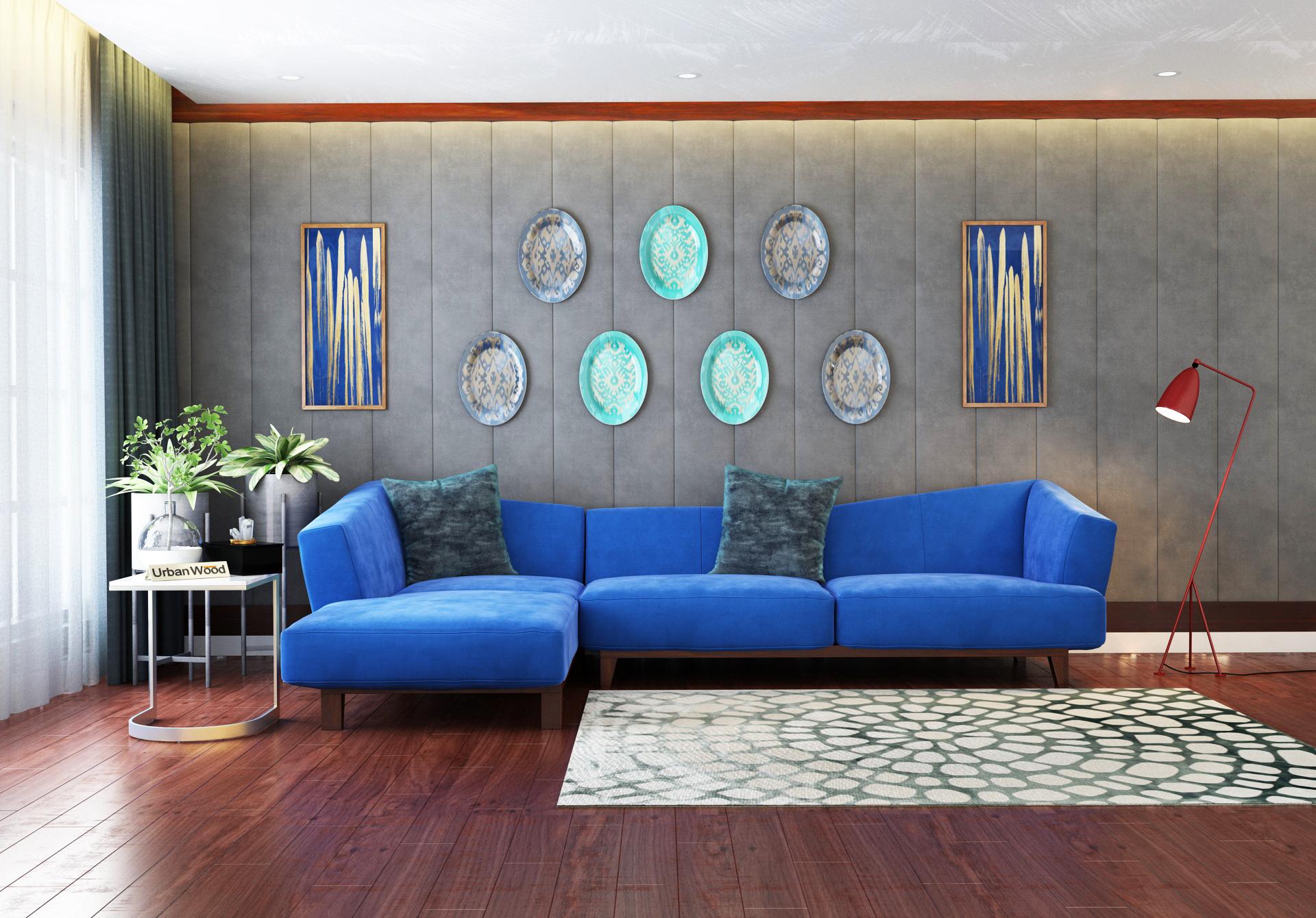 Keller L-Shaped Left Aligned Sofa <small>( Velvet, Sapphire blue )</small>