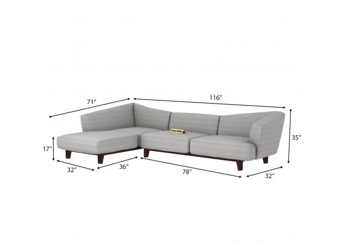 Keller L-Shaped Left Aligned Sofa ( Cotton, Steel grey )