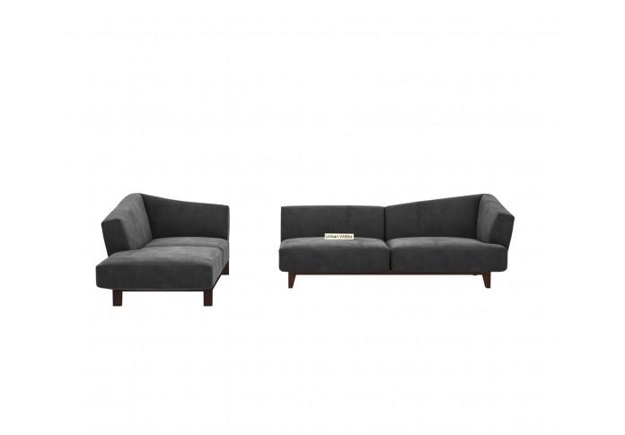 Keller L-Shaped Left Aligned Sofa ( Velvet, Stone grey )