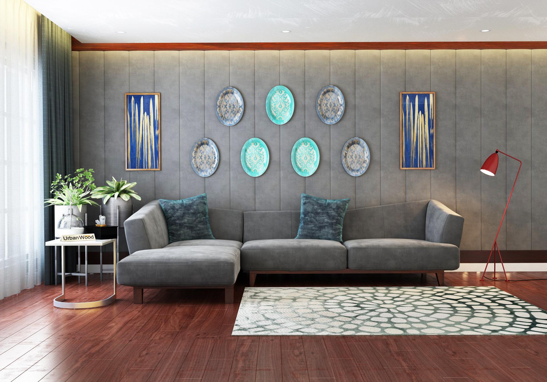Keller L-Shaped Left Aligned Sofa <small>( Velvet, Stone grey )</small>