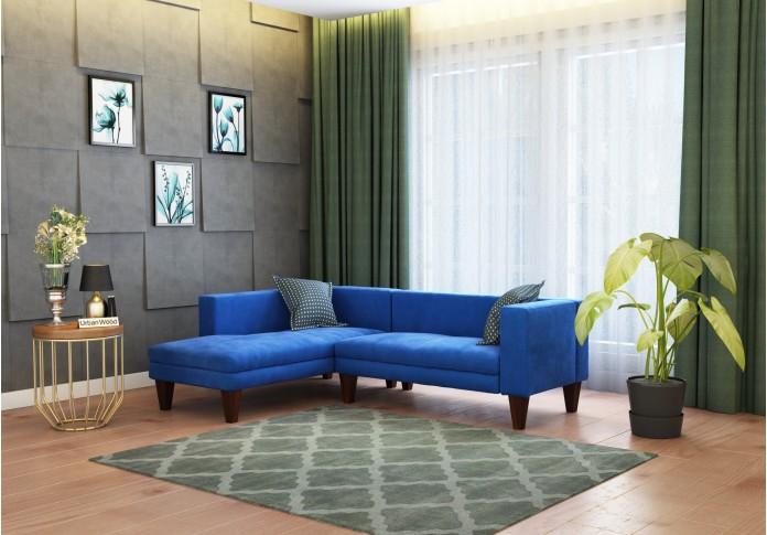 Parker L-Shaped Left Aligned Sofa ( Velvet, Sapphire blue )