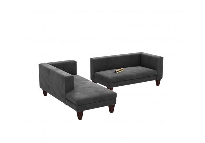 Parker L-Shaped Left Aligned Sofa ( Velvet, Stone grey )