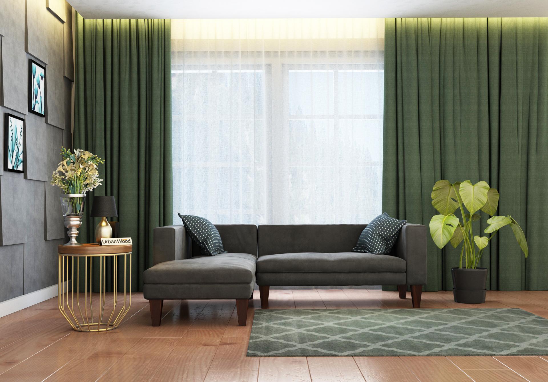 Parker L-Shaped Left Aligned Sofa <small>( Velvet, Stone grey )</small>