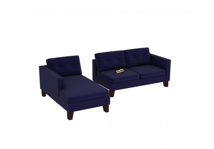 Paul L-Shaped Left Aligned Sofa ( Cotton, Navy blue )