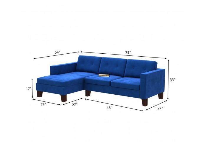 Paul L-Shaped Left Aligned Sofa ( Velvet, Sapphire blue )