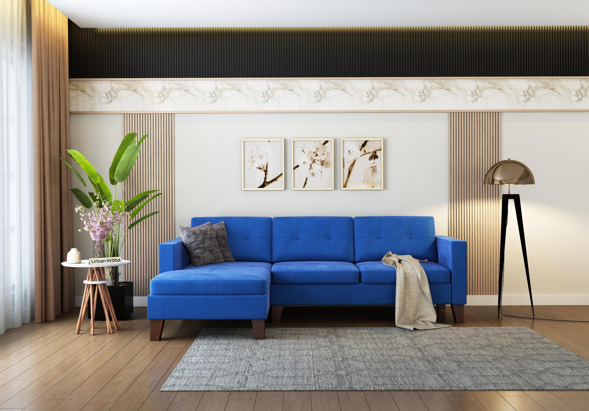 Paul L-Shaped Left Aligned Sofa <small>( Velvet, Sapphire blue )</small>