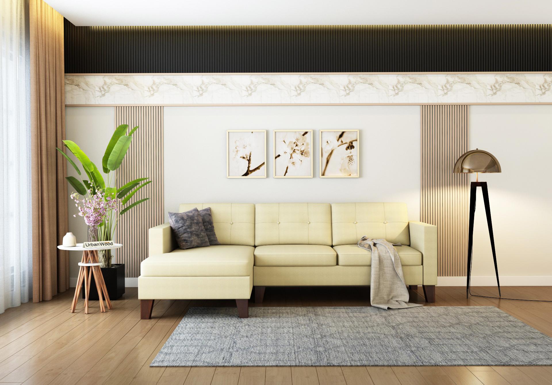 Paul L-Shaped Left Aligned Sofa <small>( Cotton, Sepia Cream)</small>