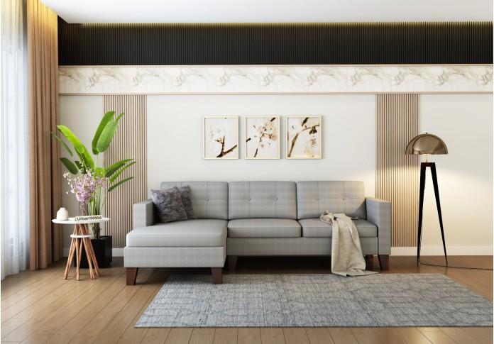 Paul L-Shaped Left Aligned Sofa <small>( Cotton, Steel gray )</small>