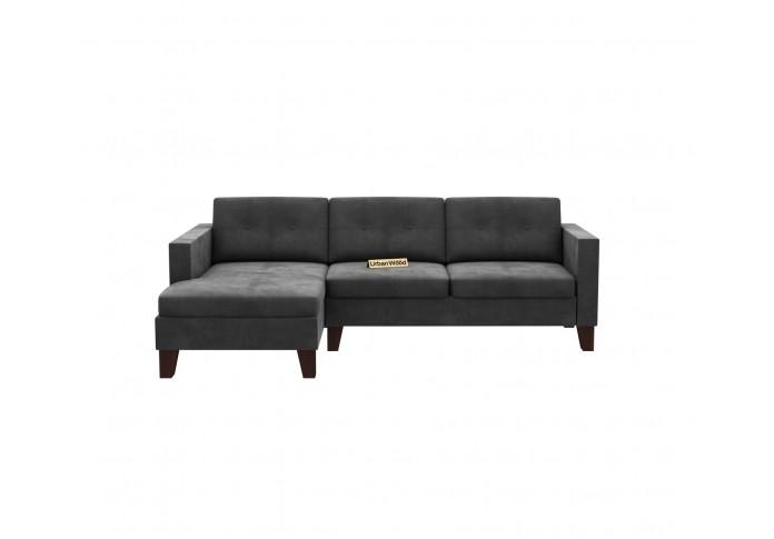 Paul L-Shaped Left Aligned Sofa <small>( Velvet, Stone grey )</small>