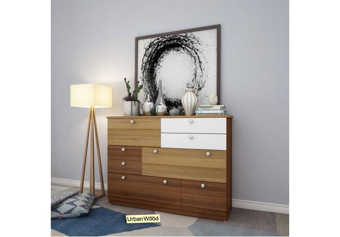 Orton Modular Chest Of Drawers (Walnut Exotic-Teak Frosty-White)