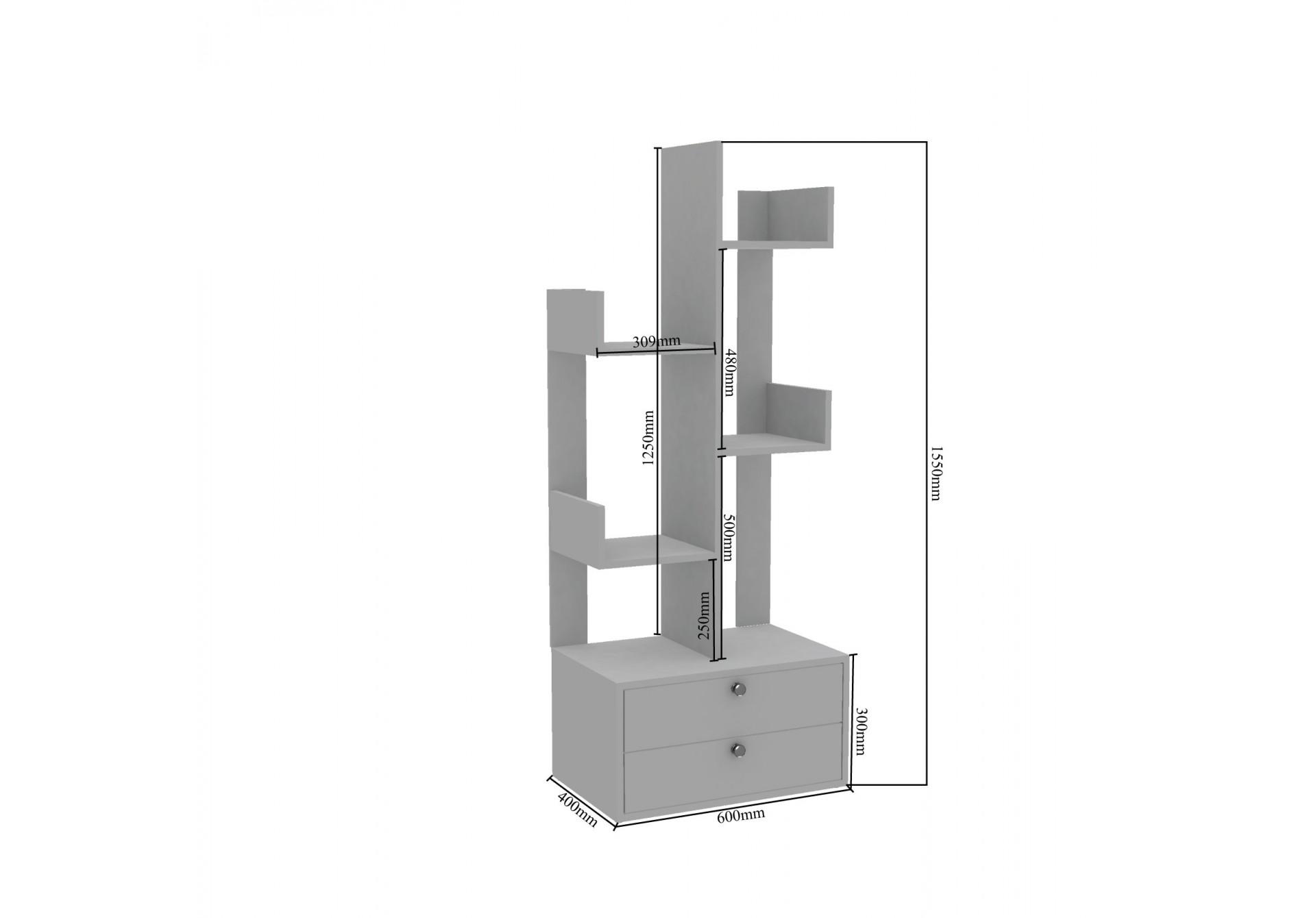 Oury Modular Bookshelf <small>( Forsty White, Walnut )</small>