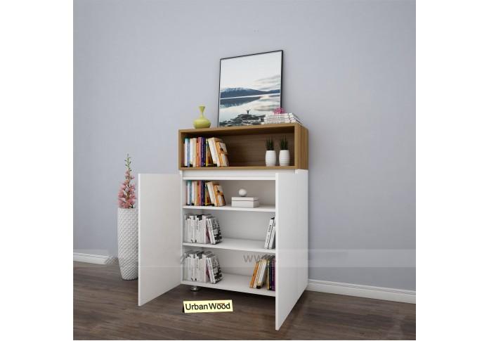 Pedi Modular Bookshelf ( Forsty White, Exotic Teak )