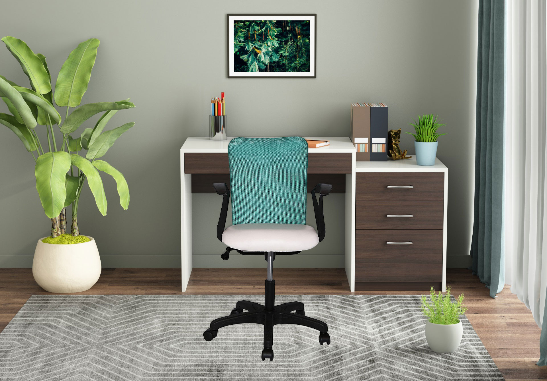 Milano Office Chair <small>(Forsty White + Ocean Green)</small>