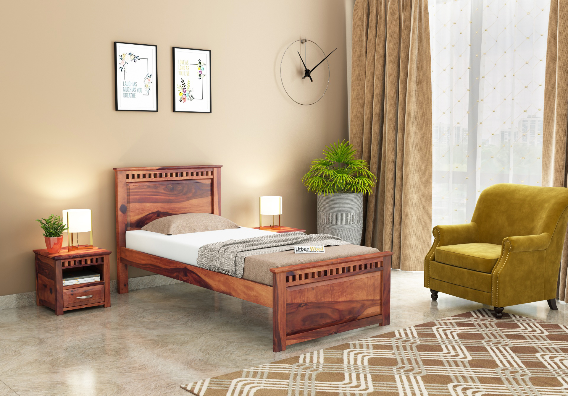 Fusion Single Bed Without Storage <small>( Teak Finish )</small>