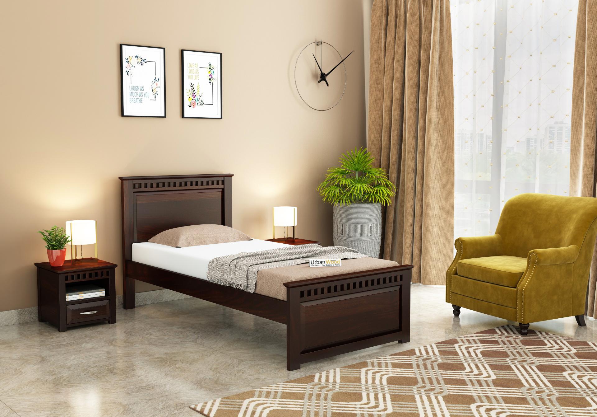 Fusion Single Bed Without Storage <small>( Walnut Finish )</small>