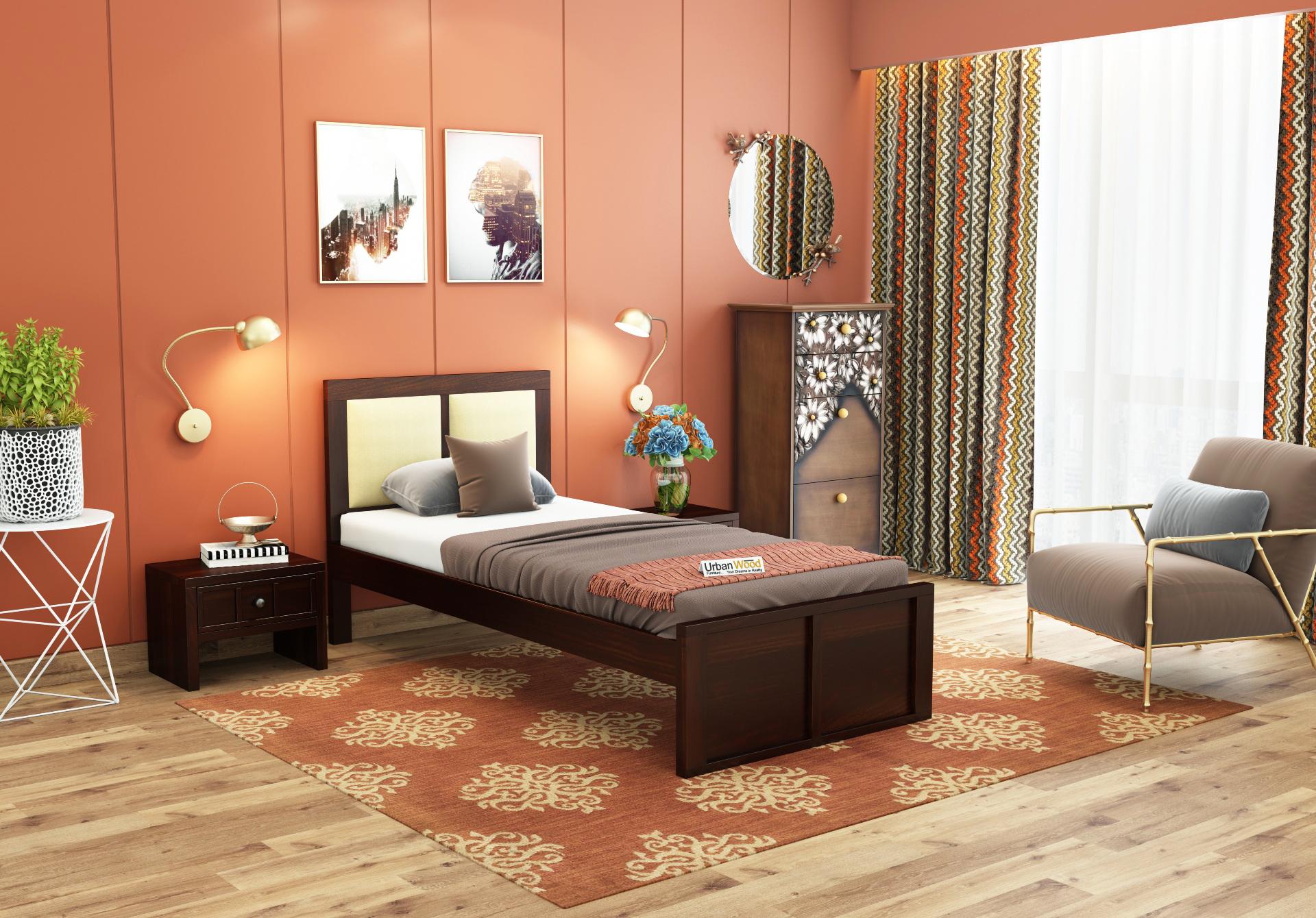 Harris Single Bed Without Storage <small>( Walnut Finish )</small>