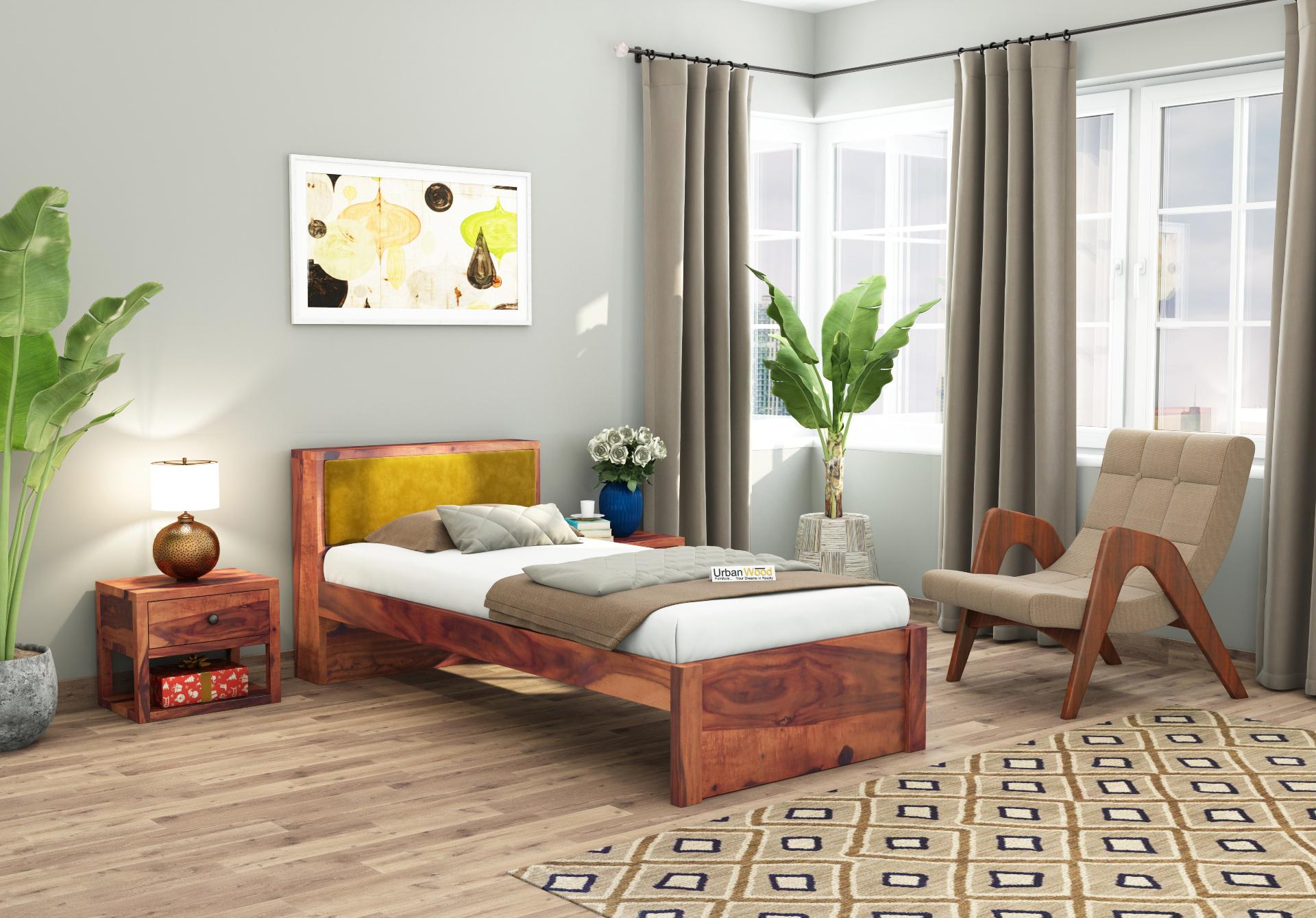Laverock single bed without storage <small>( Teak Finish )</small>