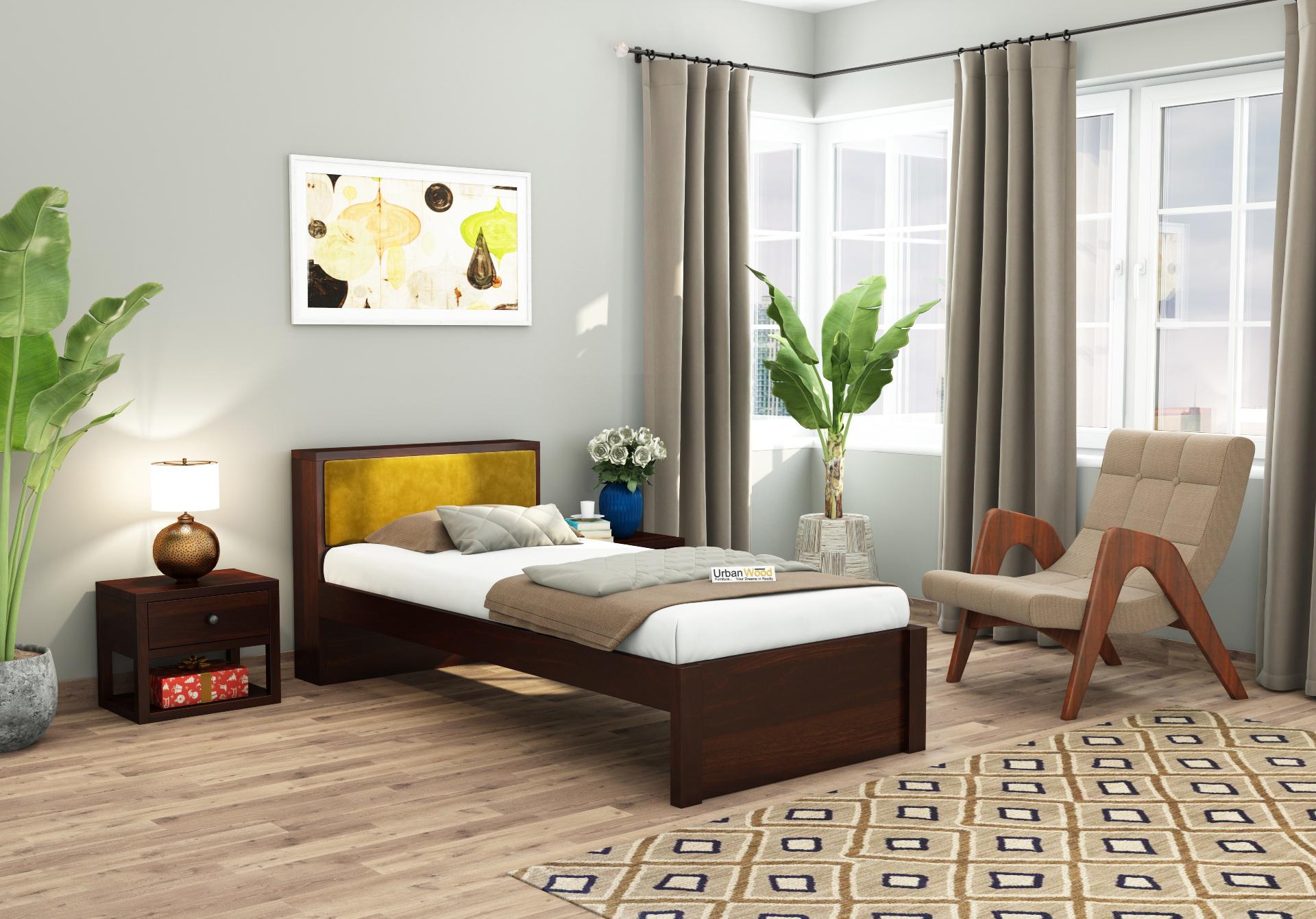 Laverock single bed without storage <small>( Walnut Finish )</small>