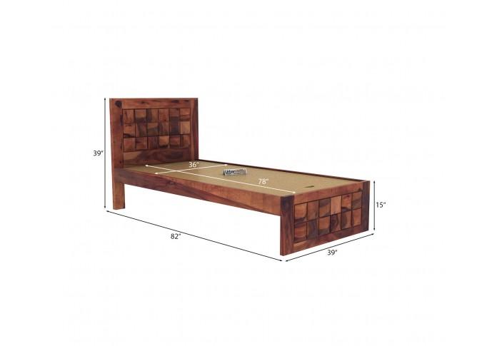 Morgana single bed without storage ( Teak Finish )