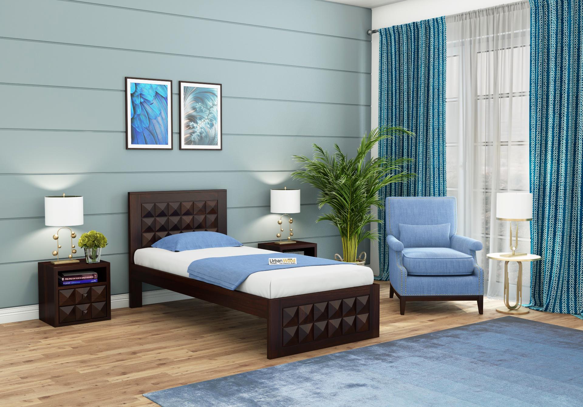 Morgana single bed without storage <small>( Walnut Finish )</small>