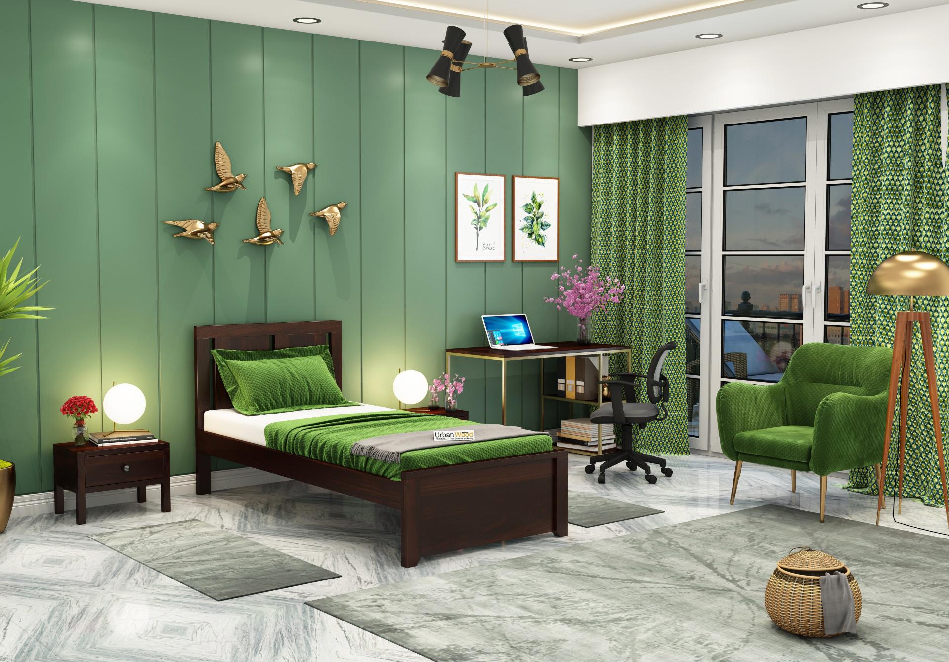 Topaz Single Bed Without Storage <small>( Walnut Finish ) </small>