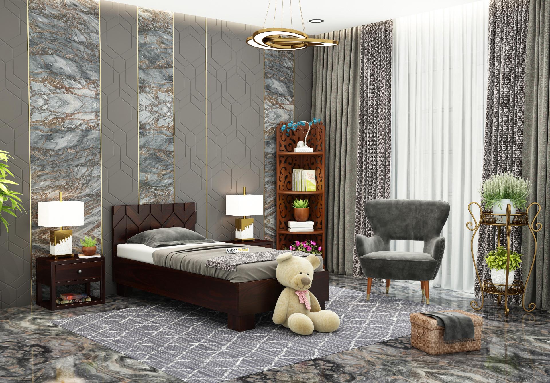 Trace Single Bed Without Storage <small>( Walnut Finish )</small>