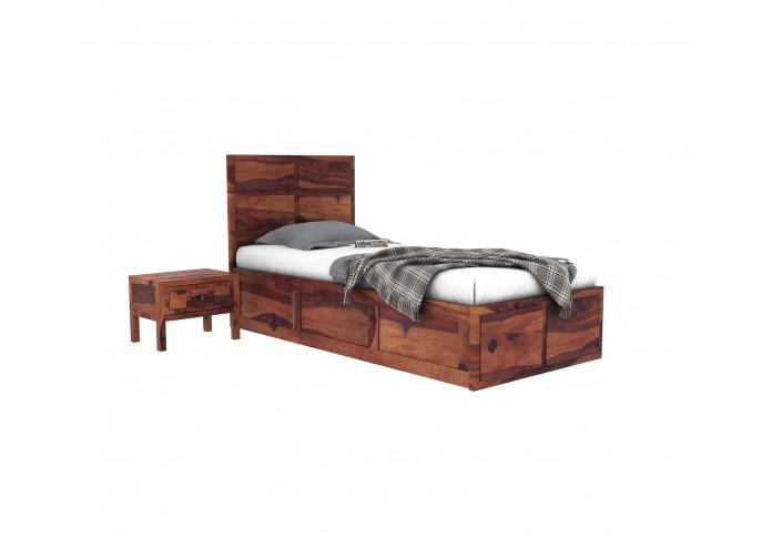 Bedswind Single Bed With Storage ( Teak Finish )
