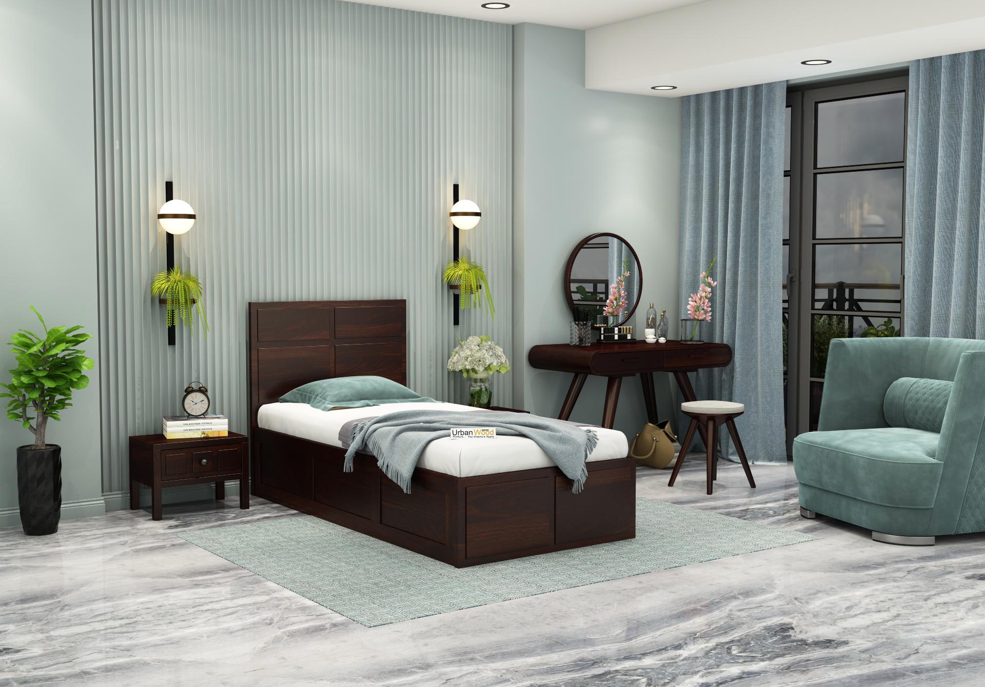 Bedswind Single Bed With Storage <small>( Walnut Finish )</small>