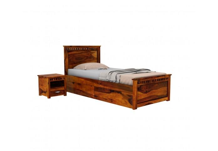 Fusion Single Bed With Storage ( Honey Finish )