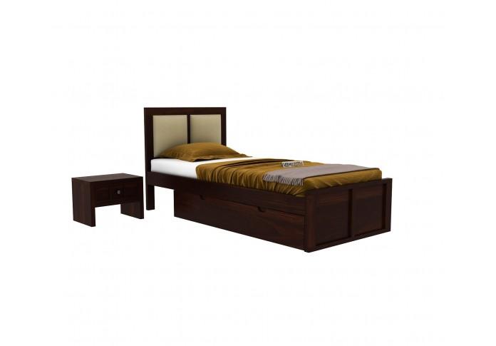 Harris Single Bed With Storage <small>( Walnut Finish )</small>