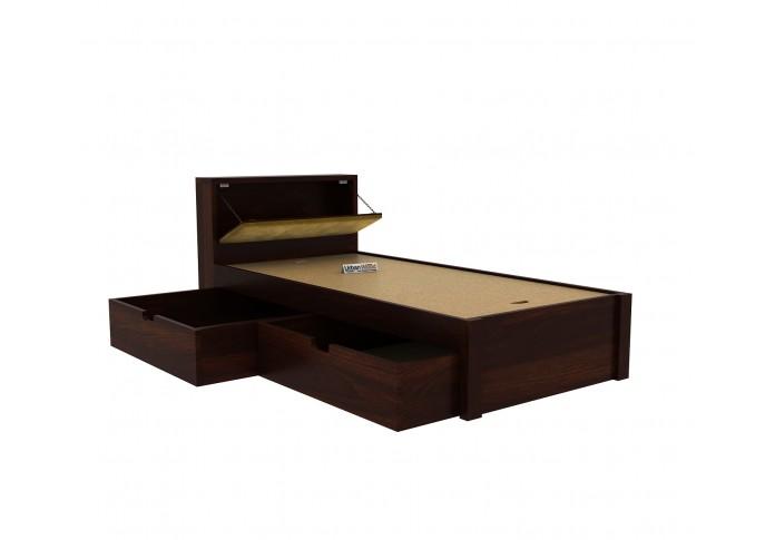 Laverock Single Bed With Storage ( Walnut Finish )