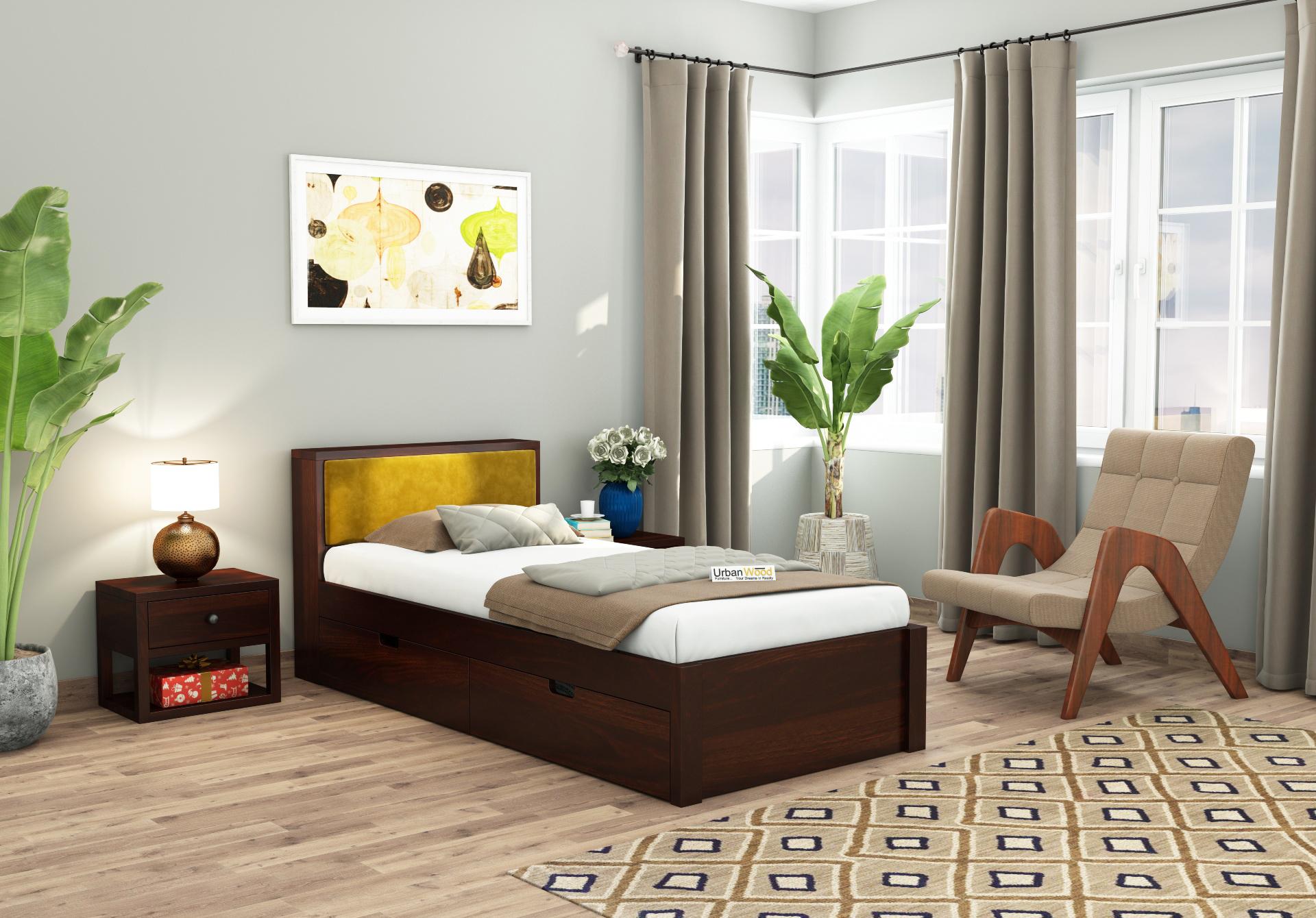 Laverock Single Bed With Storage <small>( Walnut Finish )</small>