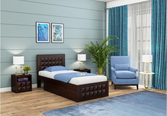 Morgana Single Bed With Storage <small>( Walnut Finish )</small>