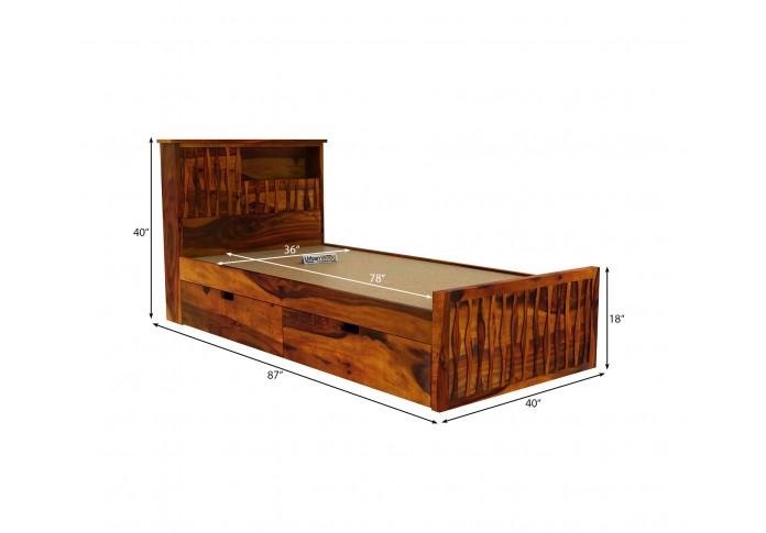 Stack Single Bed With Storage ( Honey Finish )