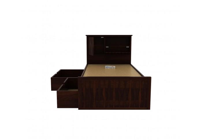 Stack Single Bed With Storage ( Walnut Finish )
